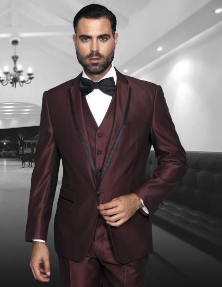 Mens Burgundy ~ Wine ~ Maroon Color 3 Piece Notch Lapel Modern Fit Two Tone Fashion Suit