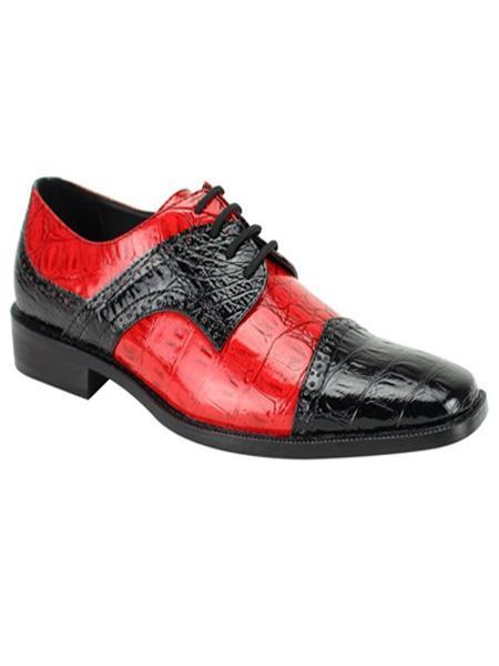 Mens Fashion Two Toned Black/Red Dress Shoe