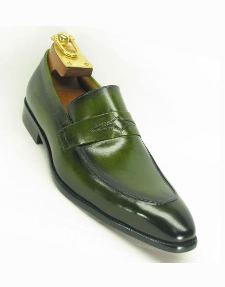 Mens Carrucci Ombre Olive Loafer Slip On Style Two Toned Shoes