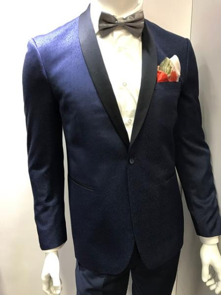 Two Toned Navy Blue ~ Midnight Color Paisley Dinner Jacket Black Lapel Shawl collar Blazer