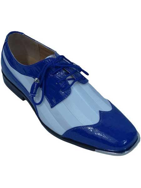 Buy SM2004 Men's Royal/White Two Toned Oxfords Lace Satin Striped Wingtip Lace Dress Shoe