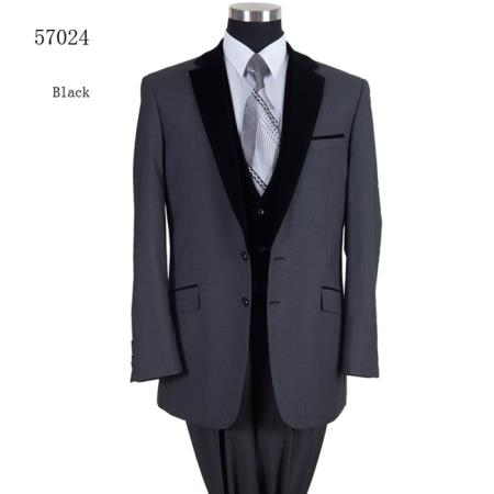 Single breasted 2 button side vents Velvet lapel Formal Dinner Black Suit Fashion Tuxedo For Men - Three Piece Suit