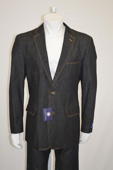 Two buttons Jean Sport coat Jacket Denim Blazer with Contrast Stitches Black