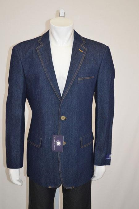 Two buttons Jean Sport coat Jacket  Denim Mens Wholesale Blazer with Contrast Stitches Blue