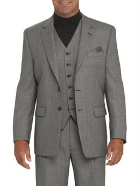 SKU#771 High Quality Light Gray 2 Button Vested 100% Wool Feel Poly Rayon Mens three piece suit Notch lapel