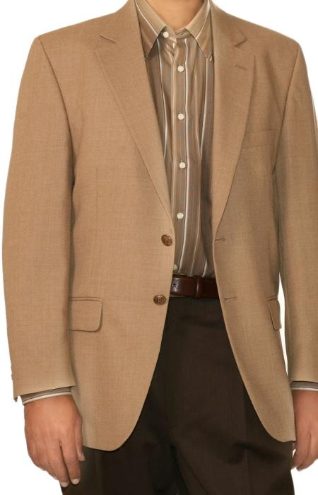 SKU#WH9710 Two Button Blazer Wool Blend Wheat (Men + Women) $175