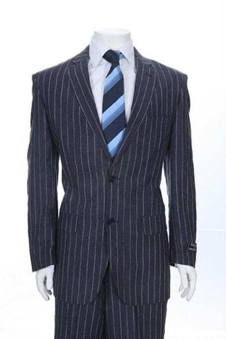 SKU#EV636 Two Button Blue Pinstripe Denim Linen $89