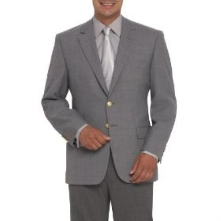 SKU#WZ34 Two-Button, Center-Vented Gray Blazer (Men + Women) $159