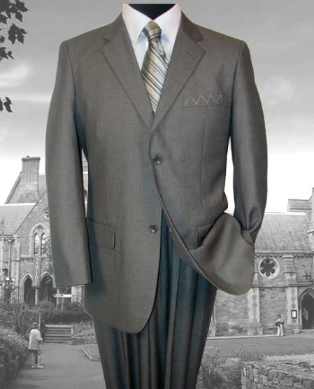 SKU# 1952 Two Button GRAY Sharkskin Pattern SUPER 140S EXTRA FINE premier quality italian fabric WOOL COLOR 2PC SUIT $159