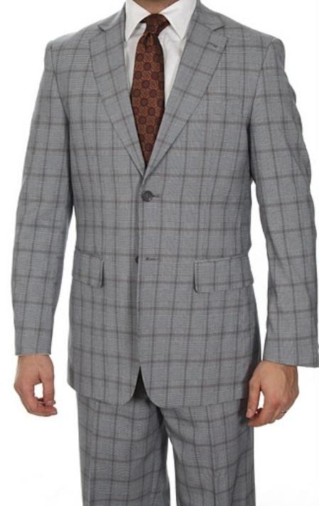 SKU#FS3076 Two Button Glen Plaid Slim Fit Suit Grey $149