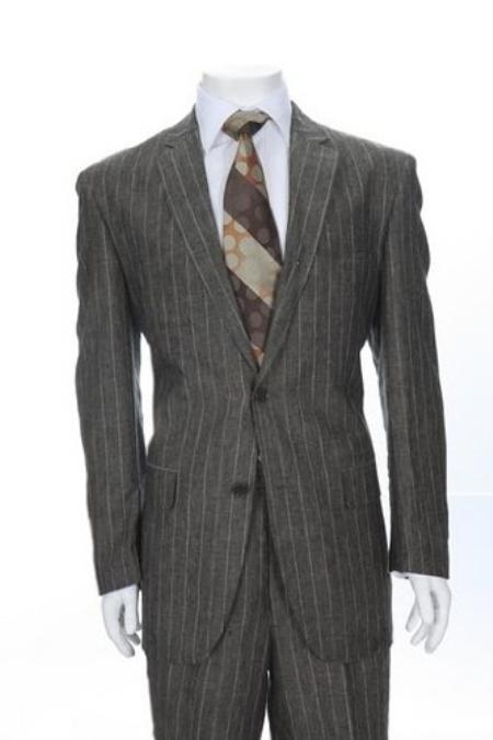 SKU#TY764 Two Button Grey Pinstripe Linen Suit $275