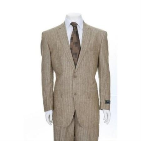 SKU#SD562 Two Button Sand Pinstripe Linen Feel Cotton&Rayon/Spandex Suit $275