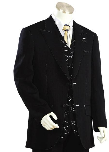 SKU#DS3321 Mens Two Button Suits Black