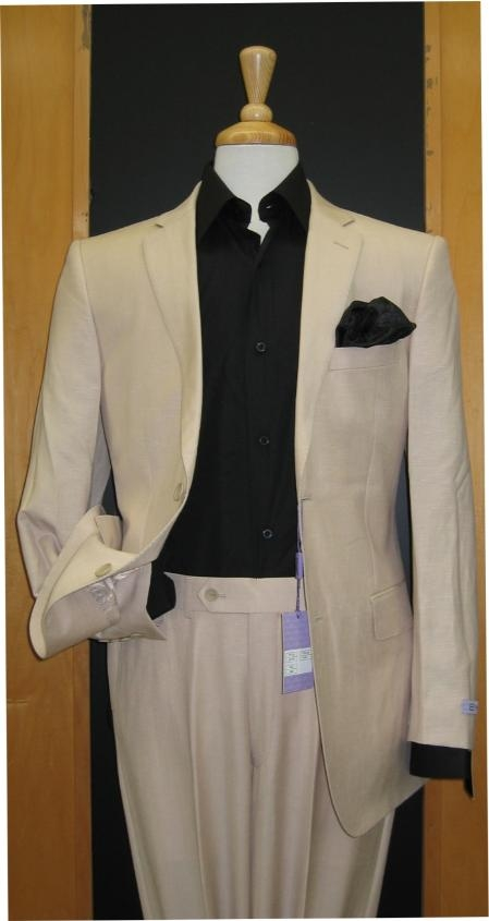 Sku#Bf637 Two Button Sand ~ Khaki ~ Natural ~ Flax Color Linen Feel Touch Poly Rayon Wrinkle Touch Super Light Weight Suit $175