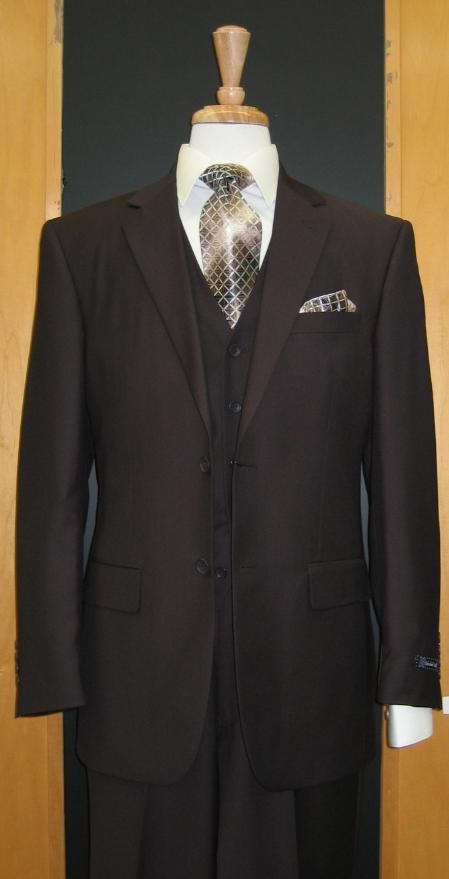 SKU#SA666 Two Button Three Piece Brown Flat Front three piece suit