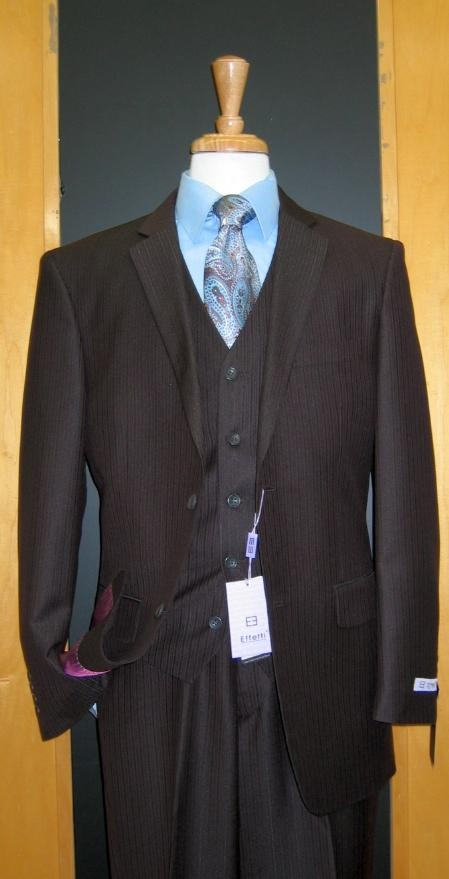 SKU#RS143 Two Button Three Piece Brown Tone on Tone Wool Blend Flat Front three piece suit $165