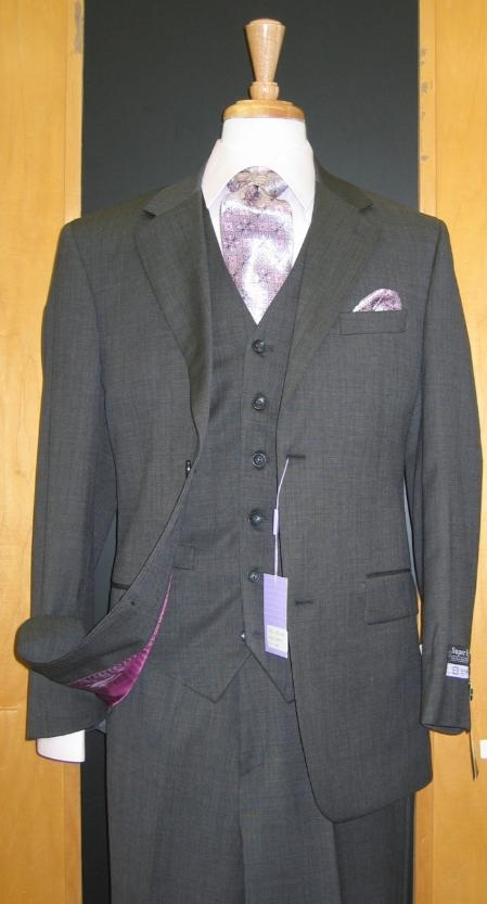SKU#DF331 Two Button Three Piece Dark Grey Wool and Cashmere Flat Front three piece suit $165