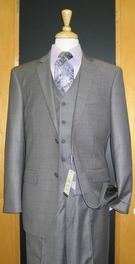 SKU#ET533 Two Button Three Piece Grey Sharkskin Wool Blend Flat Front three piece suit