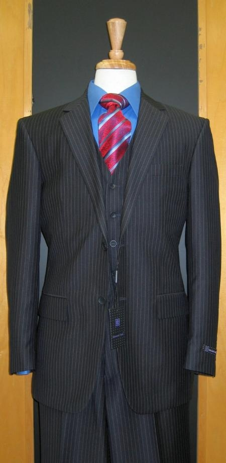 SKU#CH339 Two Button Three Piece Navy Pinstripe Flat Front three piece suit
