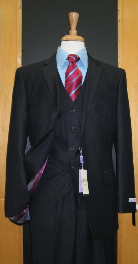 SKU#SE333 Two Button Three Piece Navy Tone on Tone Wool Blend Flat Front three piece suit $165