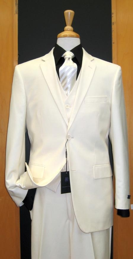 Two Button Three Piece Off White Tapered Cut