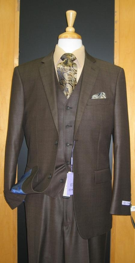 SKU#ZG342 Two Button Three Piece Olive Sharkskin Wool Blend Flat Front Suit $165