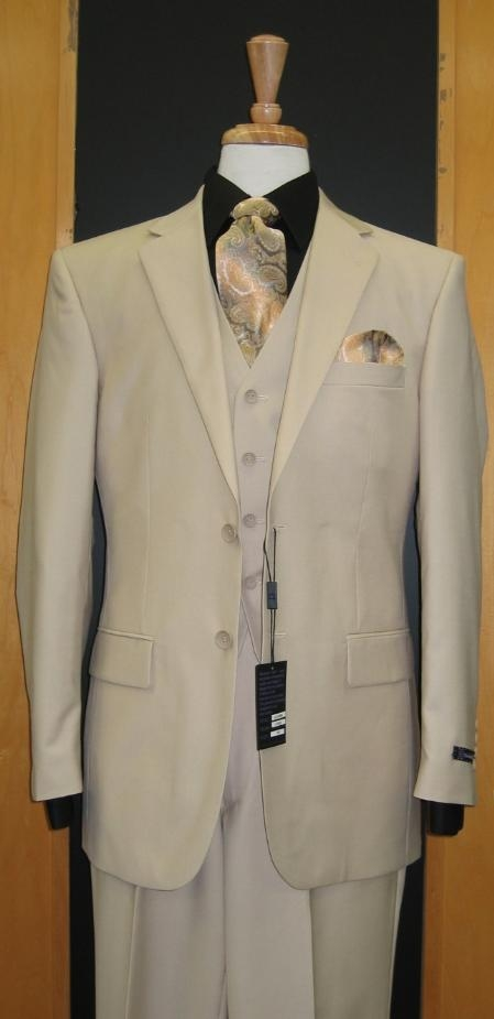 SKU#RE133 Two Button Three Piece Sand ~ Beige Khaki Color Flat Front three piece suit