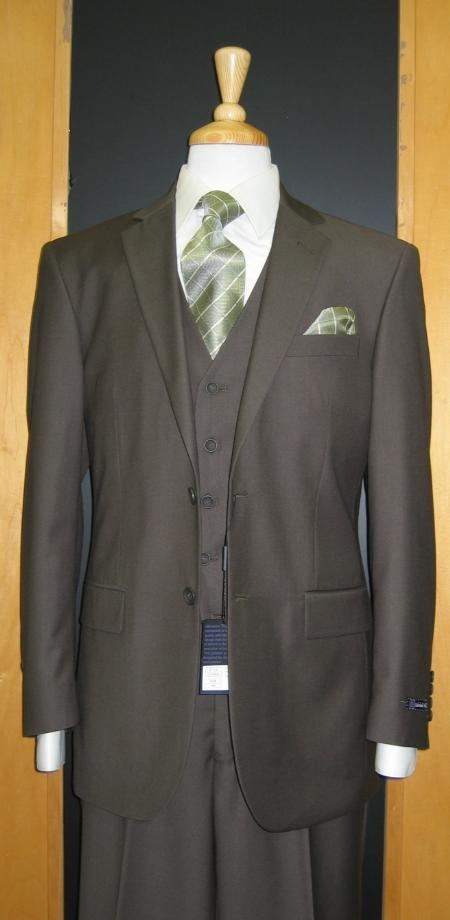 SKU#RT980 Two Button Three Piece Tapered Cut Flat Front Olive three piece suit $159