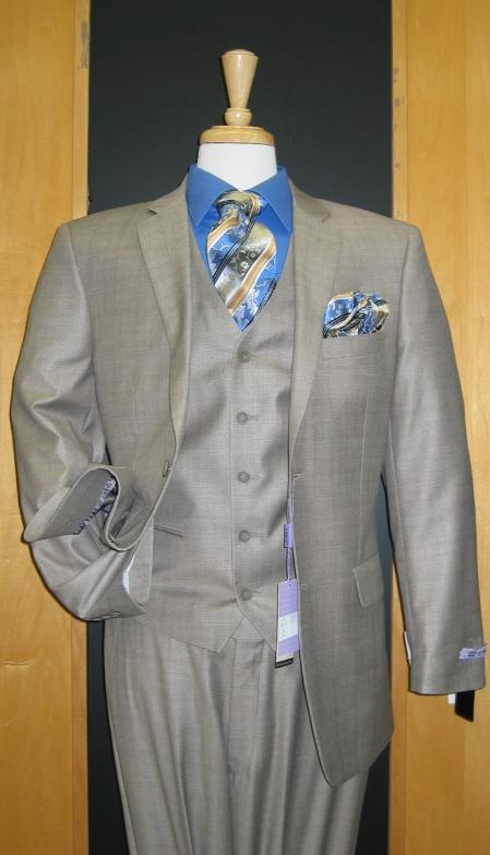 SKU#CF411 Two Button Three Piece Taupe Sharkskin Wool Blend Flat Front three piece suit