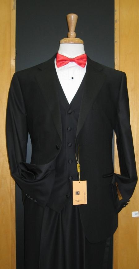 SKU#BN334 Two Button Three Piece Flat Front Tuxedo