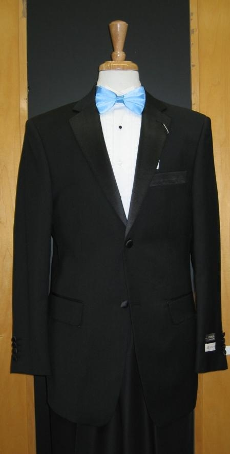 SKU#HJ347 Two Button Vented Tapered Cut 100% Wool Flat Front Tuxedo