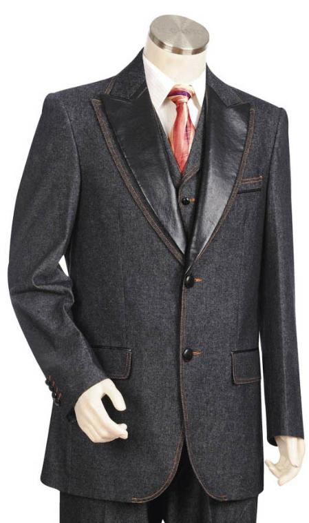 SKU#MK5455  Mens Two Buttons Style comes in Grey Trimmed Two Tone Blazer/Suit/Tuxedo $174