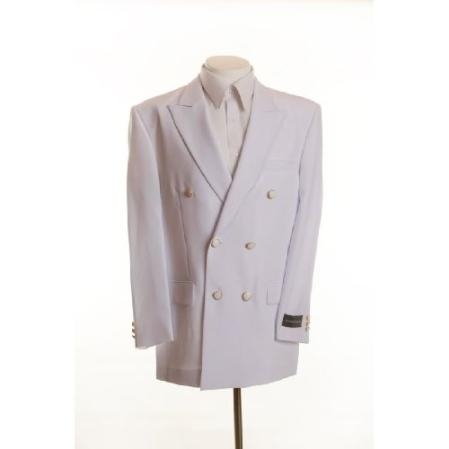 SKU# UIS89 New Mens White Double Breasted Dinner Blazer Suit Jacket $199