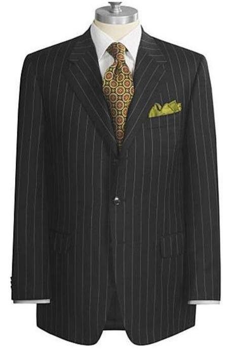 SKU# YQ32 UMO Collezion Super 140s  Black Chalk Pinstripe Marino Wool premier quality italian fabric Design  $275