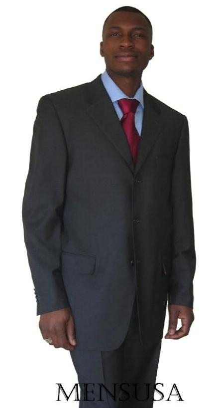 SKU# YAK241 UMO Collezion 3 Buttons Heather CHARCOAL GRAY SUPER 150S WOOL~SUIT