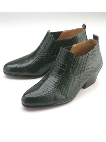 SKU#YU154 UNDYED Olive 3/4 inch heel demi-boot features a genunine snake skin leather upper $139