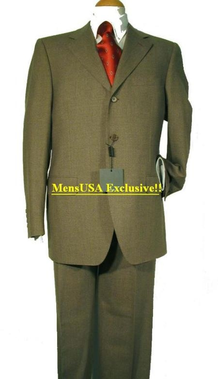 SKU# TJ2 Ultimate Wool&Tailoring Classice Olive Green Mens Suits 3 Buttons $175