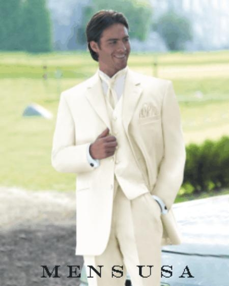 SKU# T633 Umo Collection OFF White 3 Piece Mens Vested Super Extra Fine Smooth Fabric Suits $179