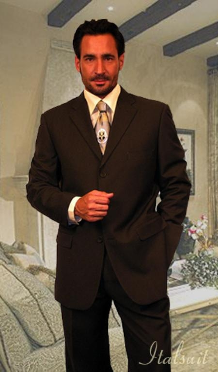 R&B_TS19 Unique 2PC 3 Button Solid Brown Mens Suit With Flat Front Pants $175
