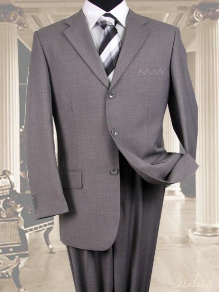 SKU#WS1929 Unique 2PC 3 Button Solid Gray Mens Suit With Flat Front Pants $199