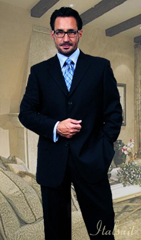 SKU#NB3076 Unique 2PC 3 Button Solid Navy Blue Mens Suit With Flat Front Pants