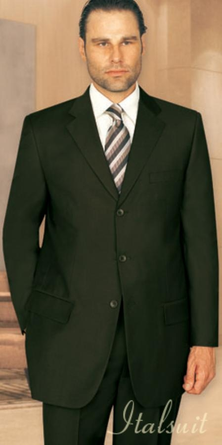 SKU#UQ1005 Unique 2PC 3 Button Solid Olive Green Mens Suit With Flat Front Pants $199