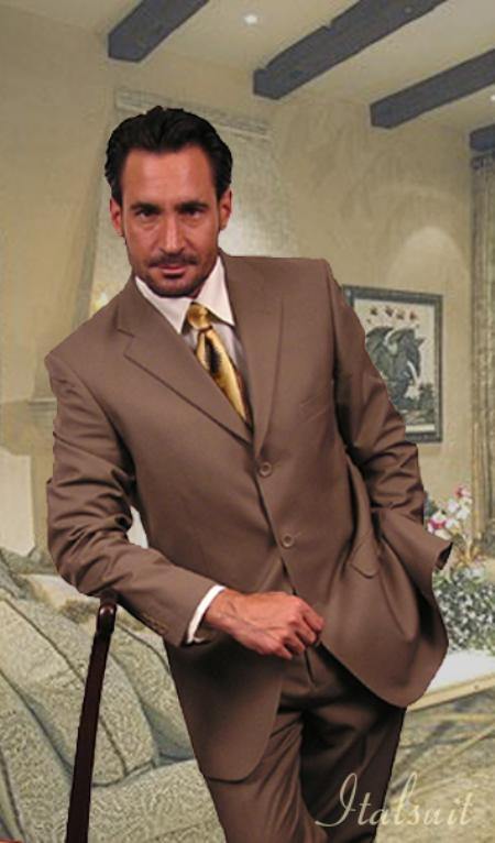 R&B_TS19 Unique 2PC 3 Button Solid Tan Mens Suit With Flat Front Pants $175