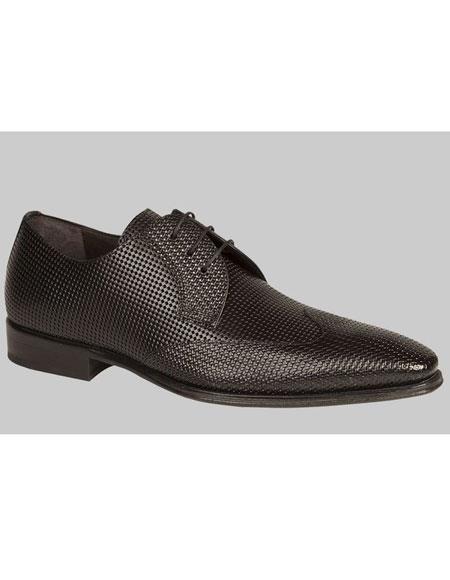 Buy AP453 Mens Unique Black Italian Calfskin Wingtip Lace Leather Shoes Authentic Mezlan Brand