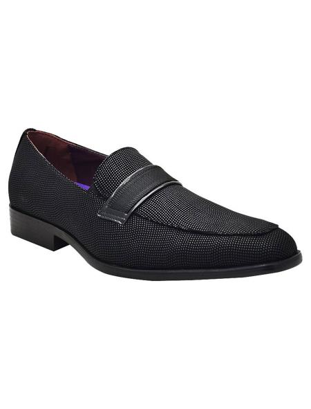 SKU#SM5126 Mens Black Slip On Style Unique Look Smoker Loafers Glitter ~ Sparkly Sequin Shiny Flashy Look