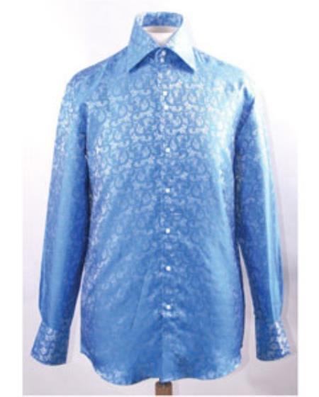 Buy SS-GQ01 Mens High Collar Blue Unique Pattern Shiny Shirts