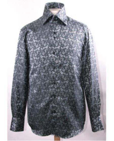 SS-GQ03 Mens High Collar Black Pattern Shiny Shirts