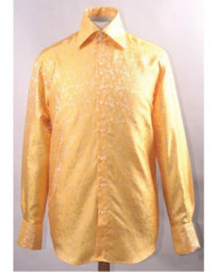 Men's Gold Unique Pattern Shiny Shirt Night Club Outfit guys Wear For Men Clothing Fashion