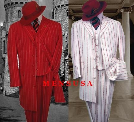 "SKU#M282 Unique GORGEOUS STRIPES 3PC. VESTED SUIT  NOTCH COLLAR, 38""INCHES LONG JACKET Suit $195"