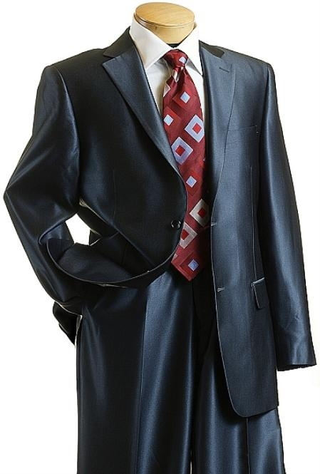 SKU#XC9014 Sharkskin Shiny Sheen 2 Button Dark Blue Sharkskin Mens Suit